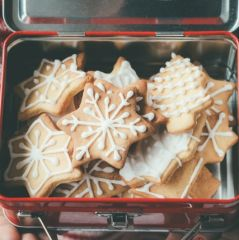 Christmas cookies in a metallic child lunch box